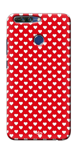 Digiprints Small Hearts On Red Design Printed Back Case Cover For Huawei Honor 8 Pro