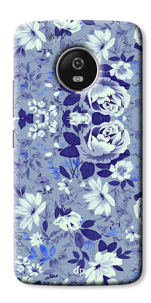 Digiprints Beautiful Blue Flowers Vector Design Back Case Cover For Motorola Moto E4 Plus