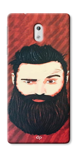 Digiprints Beard Man Printed Design Back Case Cover For Nokia 3