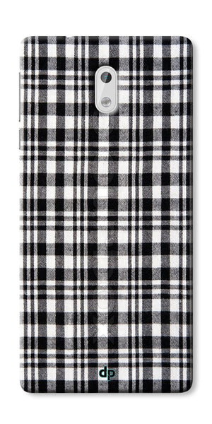 Digiprints Black Checks Printed Designer Back Case Cover For Nokia 3