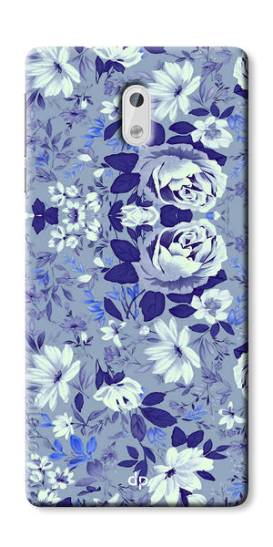 Digiprints Beautiful Blue Flowers Vector Design Back Case Cover For Nokia 3