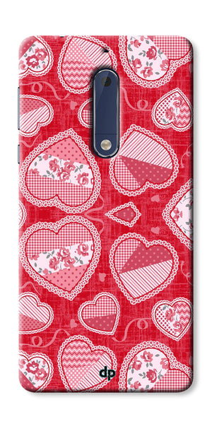 Digiprints Beautiful Pink Heart Design Printed Back Case Cover For Nokia 5