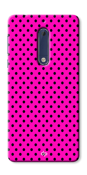 Digiprints Black Dotted Design Pink Printed Back Case Cover For Nokia 5