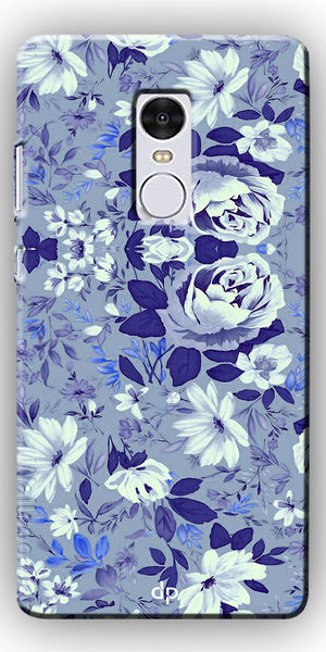 Digiprints Beautiful Blue Flowers Vector Design Back Case Cover For Xiaomi Redmi Note 4