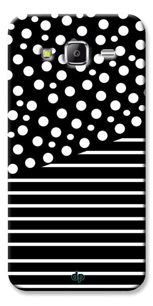 Digiprints White Strips And Dots Printed Back Case Cover For Samsung Galaxy Grand Prime