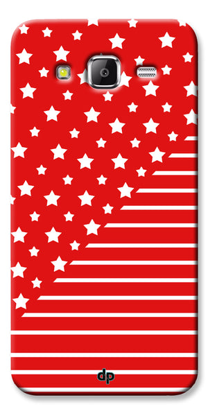 Digiprints Star And Strips On Red Printed Back Case Cover For Samsung Galaxy Grand Prime