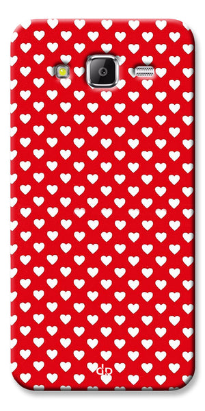 Digiprints Small Hearts On Red Design Printed Back Case Cover For Samsung Galaxy Grand Prime
