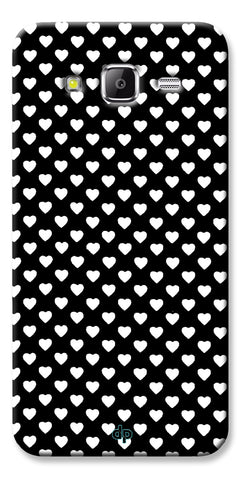 Digiprints Small Hearts On Black Design Printed Back Case Cover For Samsung Galaxy Grand Prime