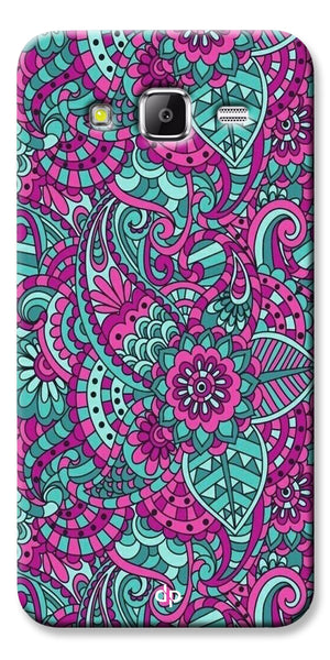 Digiprints Mandala Púrpura  Pattern Back Case Cover For Samsung Galaxy Grand Prime
