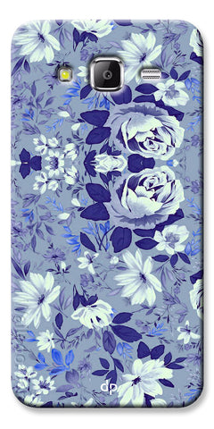 Digiprints Beautiful Blue Flowers Vector Design Back Case Cover For Samsung Galaxy Grand Prime