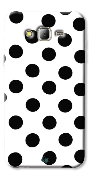 Digiprints Black Polka Dots Printed Back Case Cover For Samsung Galaxy J2
