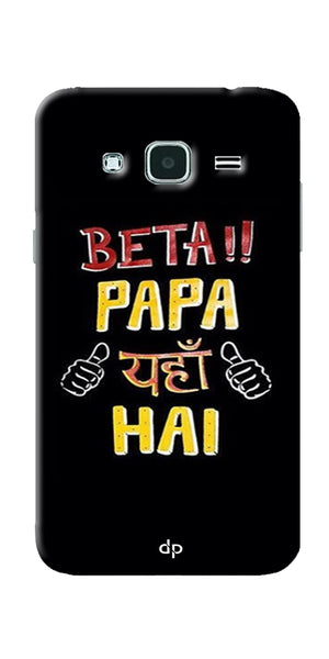 Digiprints Beta Papa Yaha Hai Printed Designer Back Case Cover For Samsung Galaxy J3