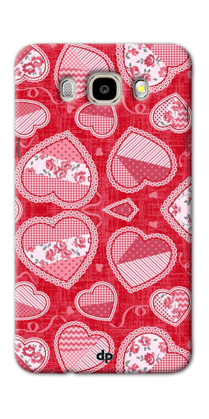 Digiprints Beautiful Pink Heart Design Printed Back Case Cover For Samsung Galaxy J7_2016