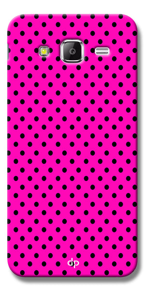 Digiprints Black Dotted Design Pink Printed Back Case Cover For Samsung Galaxy J7