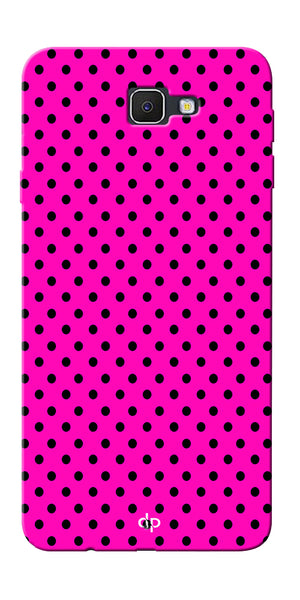 Digiprints Black Dotted Design Pink Printed Back Case Cover For Samsung Galaxy J5 Prime