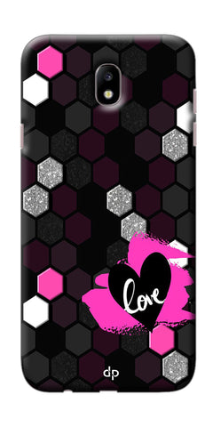 Digiprints Pink Heart Printed Back Case Cover For Samsung Galaxy J7 Pro