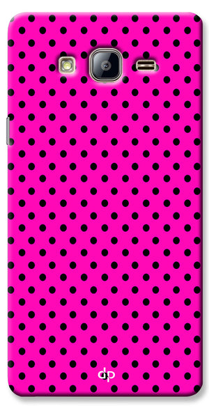Digiprints Black Dotted Design Pink Printed Back Case Cover For Samsung Galaxy On7