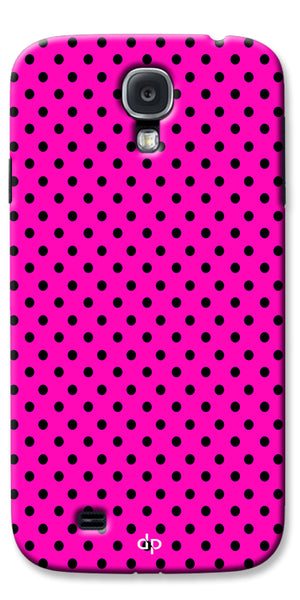 Digiprints Black Dotted Design Pink Printed Back Case Cover For Samsung Galaxy S4