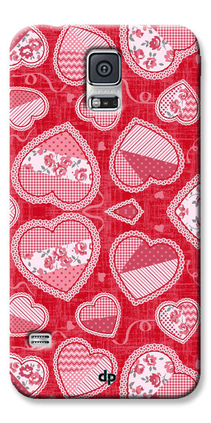 Digiprints Beautiful Pink Heart Design Printed Back Case Cover For Samsung Galaxy S5