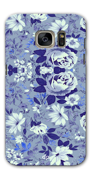 Digiprints Beautiful Blue Flowers Vector Design Back Case Cover For Samsung Galaxy S7