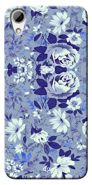 Digiprints Beautiful Blue Flowers Vector Design Back Case Cover For HTC Desire 626