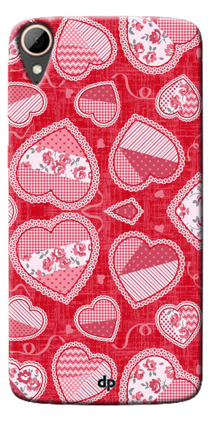 Digiprints Beautiful Pink Heart Design Printed Back Case Cover For HTC Desire 828