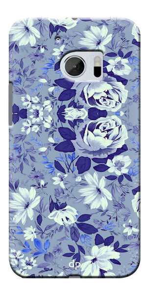 Digiprints Beautiful Blue Flowers Vector Design Back Case Cover For HTC 10