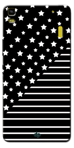 Digiprints Star And Strips On Black Printed Back Case Cover For Lenovo A7000