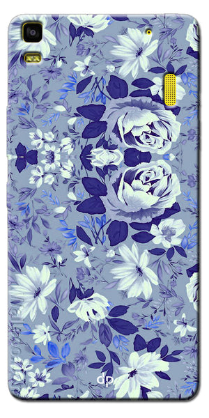 Digiprints Beautiful Blue Flowers Vector Design Back Case Cover For Lenovo A7000