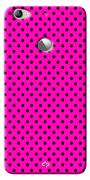 Digiprints Black Dotted Design Pink Printed Back Case Cover For LeEco Le 1s