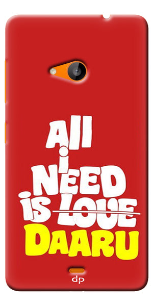 Digiprints All Need Is Daaru Printed Back Case Cover For Microsoft Lumia 535