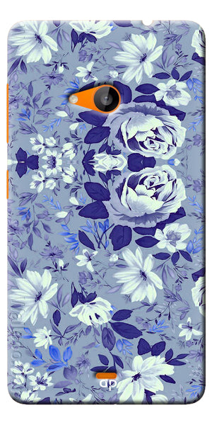 Digiprints Beautiful Blue Flowers Vector Design Back Case Cover For Microsoft Lumia 535