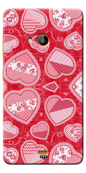 Digiprints Beautiful Pink Heart Design Printed Back Case Cover For Microsoft Lumia 540