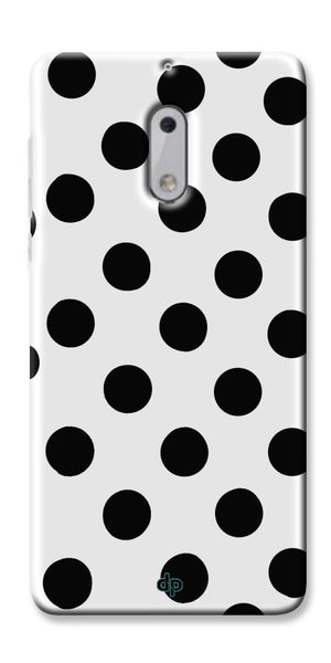 Digiprints Black Polka Dots Printed Back Case Cover For Nokia 6