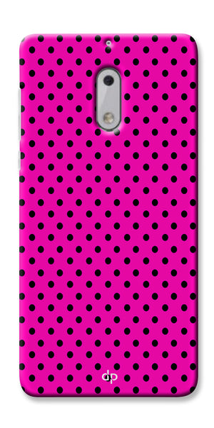 Digiprints Black Dotted Design Pink Printed Back Case Cover For Nokia 6
