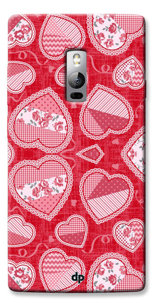 Digiprints Beautiful Pink Heart Design Printed Back Case Cover For OnePlus 2