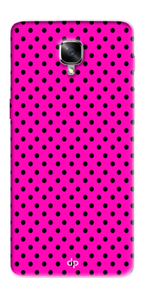 Digiprints Black Dotted Design Pink Printed Back Case Cover For OnePlus 3T