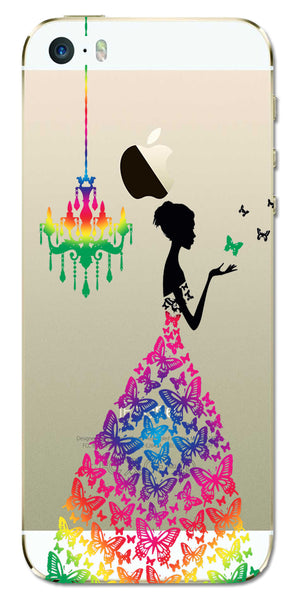 Digiprints Beautiful Lady In Butterfly Gown Design Pattern 3 Case For Apple iPhone 5