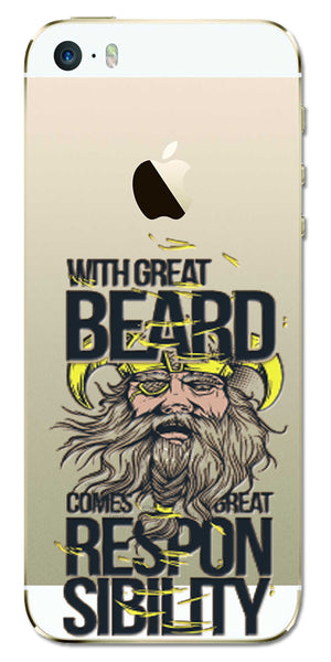 Digiprints Beard And Responsibility Printed Clear Case For Apple iPhone 5