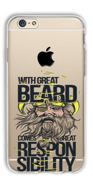 Digiprints Beard And Responsibility Printed Clear Case For Apple iPhone 6