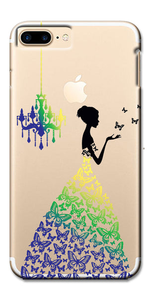 Digiprints Beautiful Lady In Butterfly Gown Design Pattern 2 Case For Apple iPhone 7 Plus