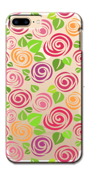 Digiprints Colorful Curls Design Printed Clear Case For Apple iPhone 7 Plus