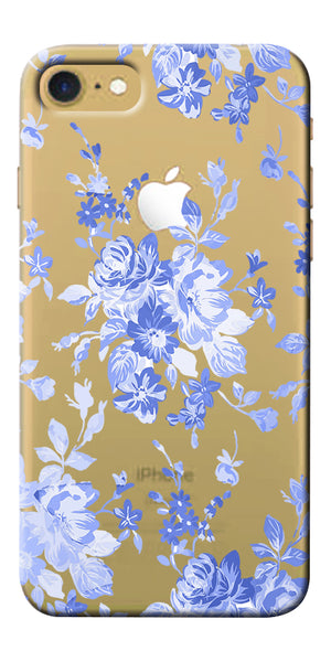 Digiprints Lillies In Blue Clear Case For Apple iPhone 7