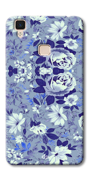 Digiprints Beautiful Blue Flowers Vector Design Back Case Cover For Vivo V3