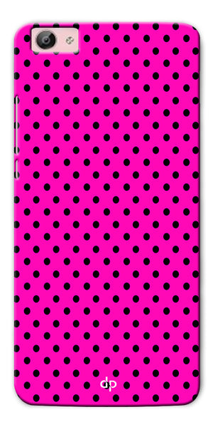 Digiprints Black Dotted Design Pink Printed Back Case Cover For Vivo Y55L