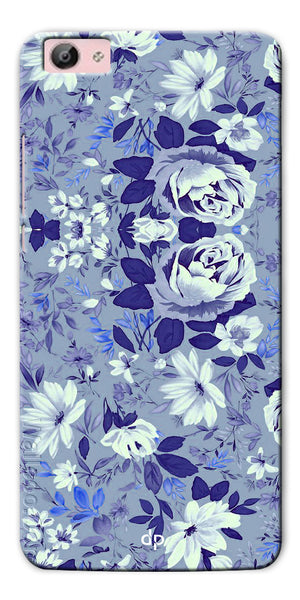 Digiprints Beautiful Blue Flowers Vector Design Back Case Cover For Vivo Y66