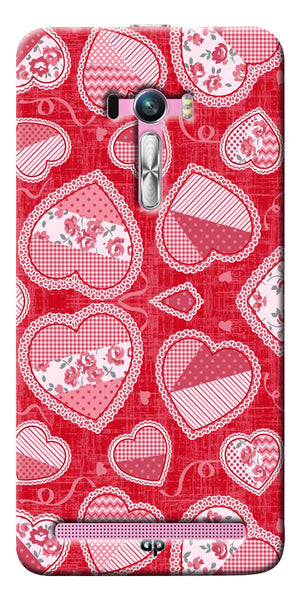 Digiprints Beautiful Pink Heart Design Printed Back Case Cover For Asus Zenfone Selfie ZD551KL