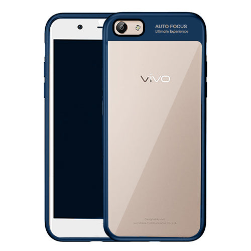 Digiprints Soft Silicon Bumper With Hard Transparent Pc Mobile Back Cover For Vivo Y55-Blue