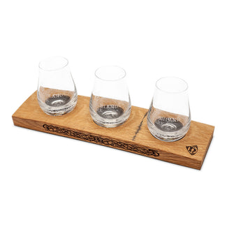 CASK WOOD TRIPLE FLIGHT PLINTH WITH GLASSES