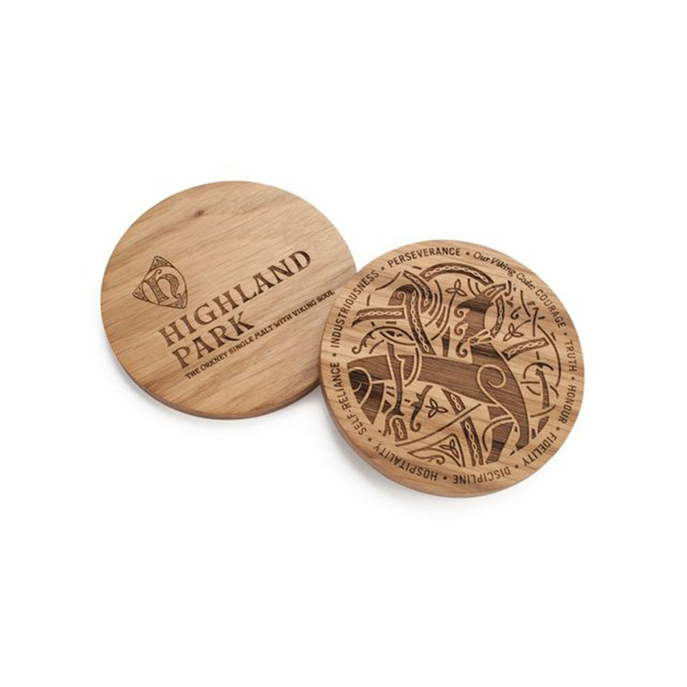 2 Lion & Serpent Coasters displaying front & rear designs